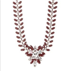 Burgundy Feather Brooch Necklace